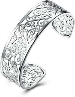 925 Sterling Silver Bangle Bracelet, HTOMT Fashion Simple Open Bangles Cuff Jewelry for Women