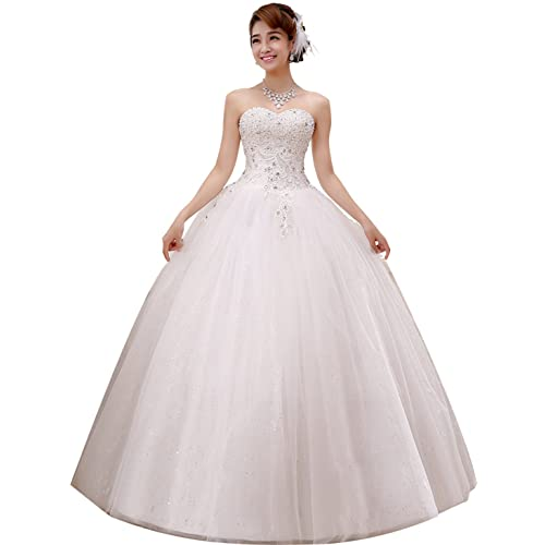 c7ab494e35d6 obqoo 2019 Gorgeous Sweetheart Beaded Lace Appliqued Ball Gown Wedding Dress  Ivory Pure White