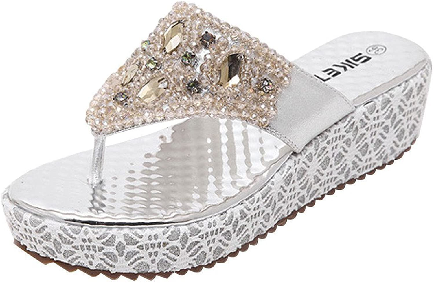 MayBeste Womens's Bohemia Rhinestone Beads Thong Sandals Casual Beach shoes Wedges Flip Flop (Silver 9 B (M) US)