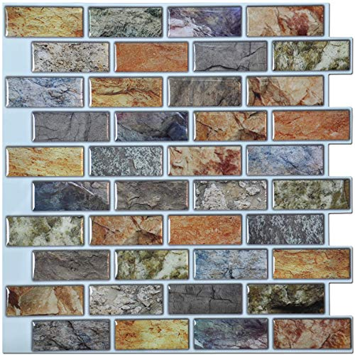 Art3d 10-Piece Peel & Stick Kitchen/Bathroom Backsplash Sticker, 12' X 12' Faux Ceramic Tile Design