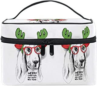 Cosmetic Bags Cartoon Dog Head Large Travel Makeup Organizer Double Zipper Toiletry Pouch Bag