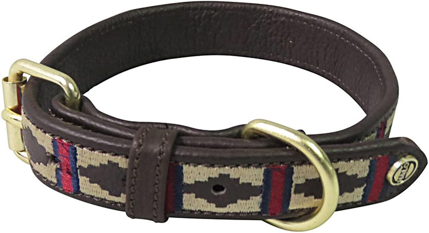 Halo Dog Collar Leather with Classic Dog Collar   color  Brown EC Red EC Navy, Size  XSmall