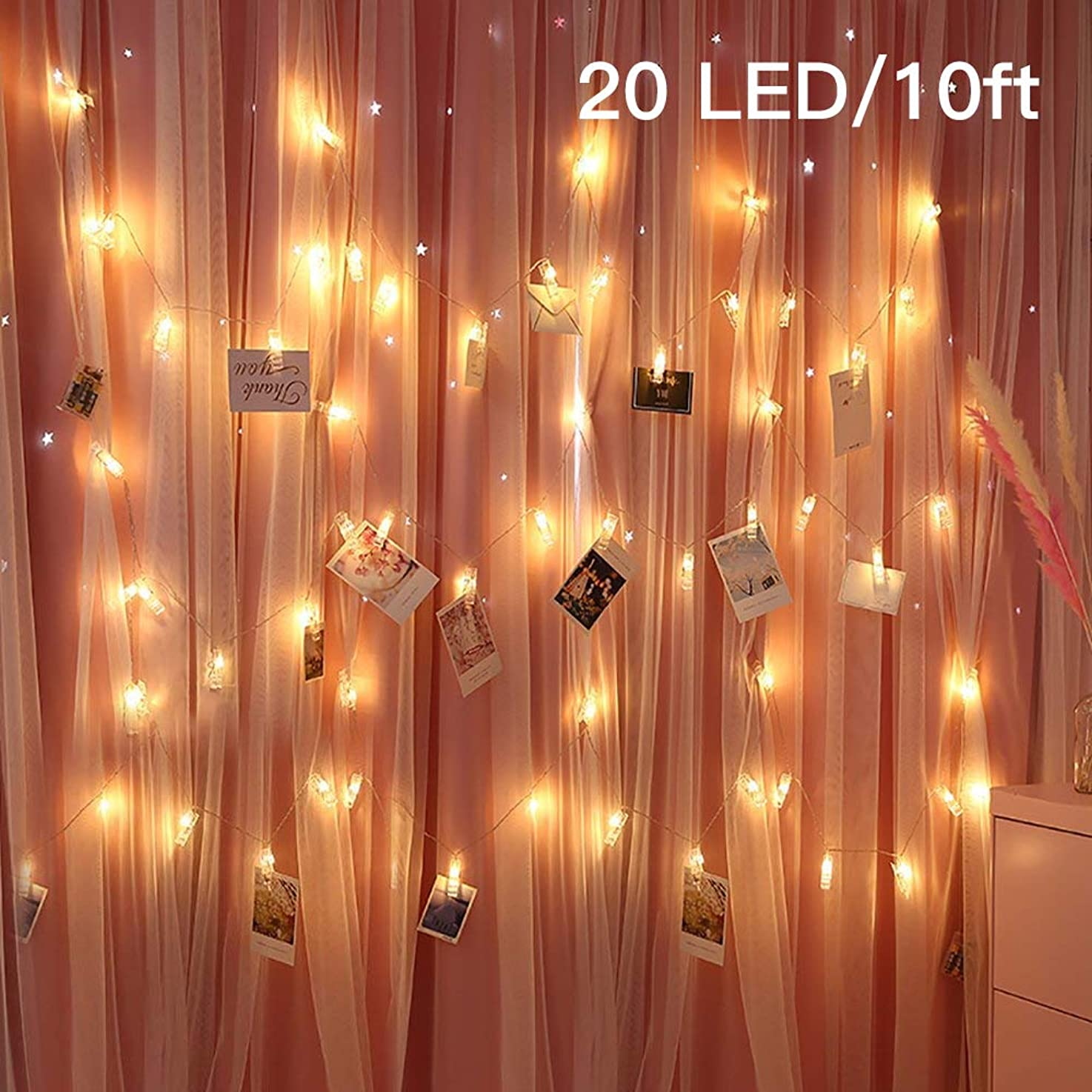 soyond Photo Clip String Lights, Fairy 20 LED Lights Window Curtain Wall Dorm Lighting for Hanging Artwork Photos Memos Paintings, Bedroom Dorm Home Décor, Battery Operated (20 Clips)