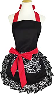 Black Lace Flirty Apron with Pocket, Floosum Fun Retro Sexy Cooking Pinup Aprons for Women Girls