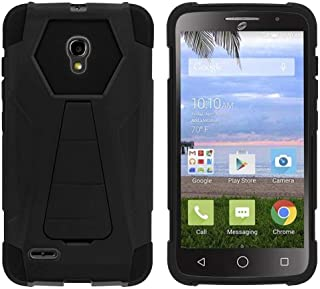 TurtleArmor | Compatible with Alcatel One Touch Pop Icon 2 Case [Dynamic Shell] Impact Cover Hard Kickstand Hybrid Shock Fitted Silicone Military War Robot Android - Black