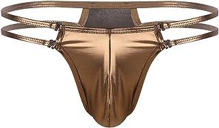 inhzoy Men Thongs Underwear Shiny Metallic Low Rise Bulge Pouch T-Back Jockstrap G String Bikini Briefs