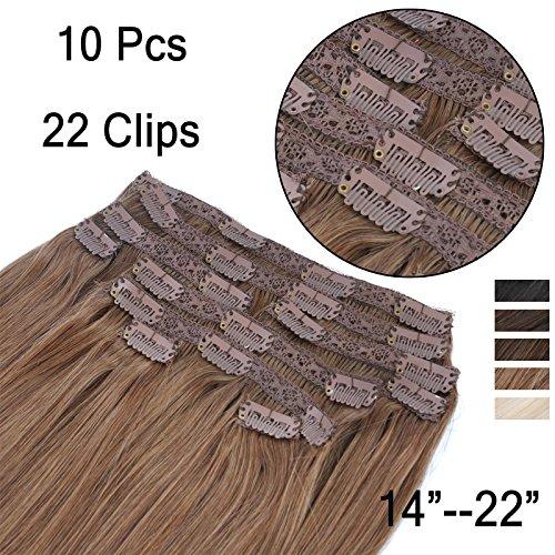 (35cm-55cm) Clip In Extensions 10 Teiliges SET 120g 100% Remy Echthaar für Komplette Haarverlängerung glatt Haarteile (6#, Hellbraun, 40cm)