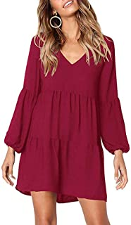 WAFA Women's Long Sleeve Puff Tunic Dress V Neck Loose Swing Shift Dresses Ruffle Tunic Dress