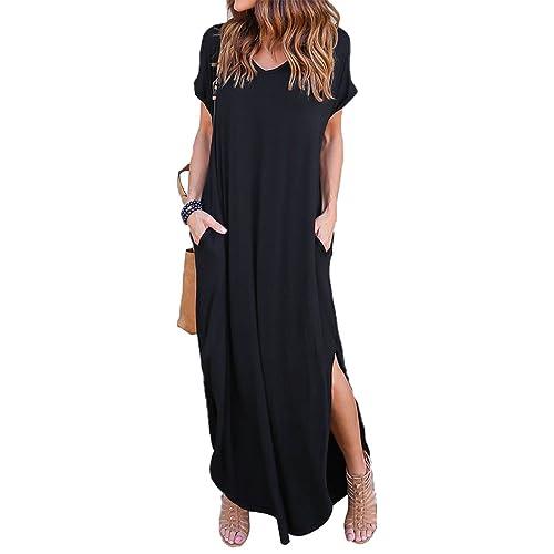 4486567a3d327 VONDA Women's Split V Neck Short Sleeve with Side Pockets Summer Long Maxi  Dress