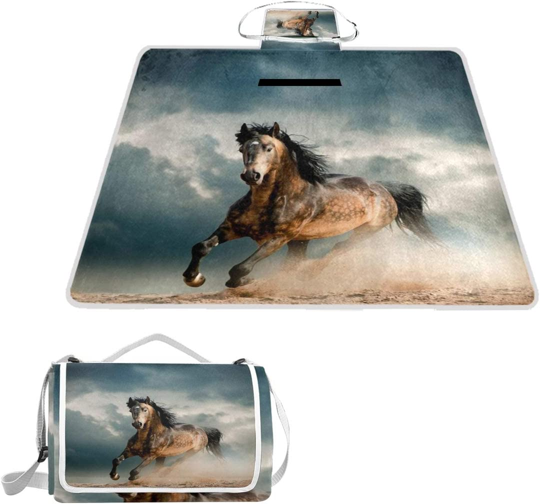 Wild Horse in Dust Picnic Dealing full price reduction Play Mat Blanket Free shipping anywhere the nation Waterproof Foldable