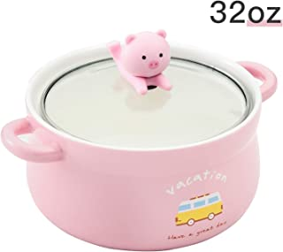 Cute Pig 32oz Big Ceramic Bowl with Lid and Handle for Soup/Rice/Salad/Instant/Noodle/Vegetables Fruit(1000ml Cute Pig)