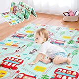 Gentle Monster Baby Play Mat, Extra Large Foldable Play Mat for Baby, Portable Baby Crawling Mat, Waterproof Non Toxic Anti Slip Soft Foam Reversible Playmat for Infants Toddlers and Kids 77' x 70' In