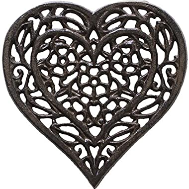 Cast Iron Heart Trivet - Decorative Cast Iron Trivet For Kitchen Or Dining Table - Vintage, Rusted Design - 6.75X6.5  - With Rubber Pegs/Feet - Recycled Metal - Rust Brown Color - by Comfify