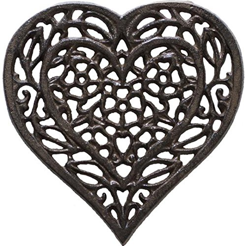"""Cast Iron Heart Trivet - Decorative Cast Iron Trivet For Kitchen Or Dining Table - Vintage, Rusted Design - 6.75X6.5"""" - With Rubber Pegs/Feet - Recycled Metal - Rust Brown Color - by Comfify"""