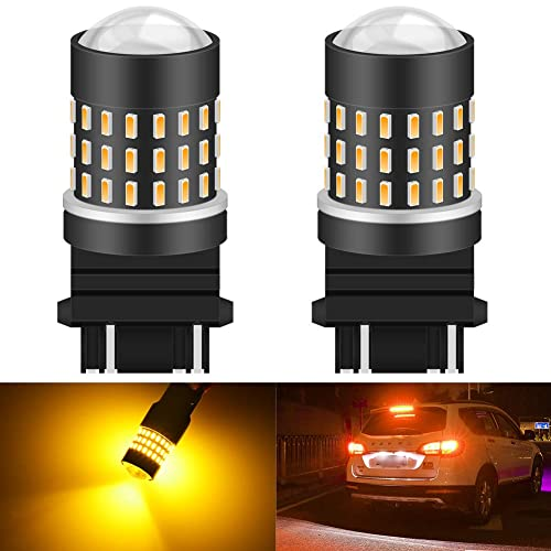 Works as Brake Lights 2-Pack 12-24V AJUMKER 3157 3156 3057 3056 LED Bulb Tail Lights Turn Signal Blinkers Red Extremely Bright 21 SMD High Power Chipsets with Projector Lens