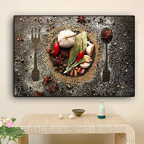 IHlXH Müsli Gewürzlöffel und Gabel Küche Leinwand Druckgrafik Wandkunst Lebensmittel Bild Wohnzimmer Wohnkultur A3 60x90 ohne Rahmen