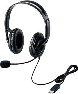 エレコム ヘッドセット マイク USB 両耳 オーバーヘッド 片出しケーブル 1.8m HS-HP28UBK