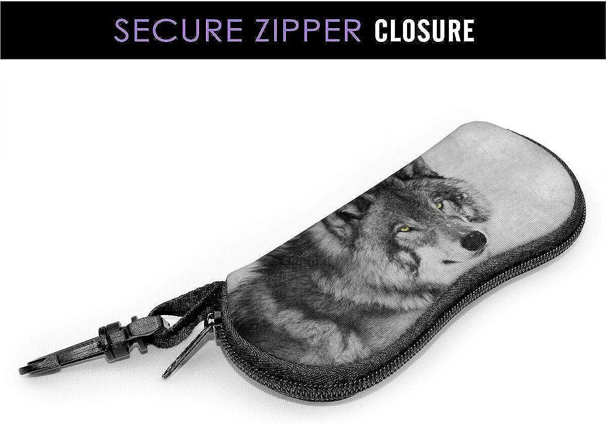 Black And White Wolf Sunglasses Soft Case Ultra Light Neoprene Zipper Eyeglass Case With Key Chain