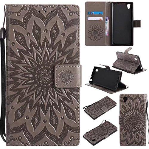 Sun Flower Printing - Funda de piel sintética con tapa para tarjetas, soporte compatible con Sony Xperia L1 / Sony Xperia E6 (color: gris)