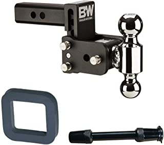 B&W Hitches TS10033B Tow and Stow Magnum 3in Drop 2in Receiver Hitch Ball Mount with 2in Silencer Pad and Premium 5/8in Receiver Lock with 3.5in Span Bundle