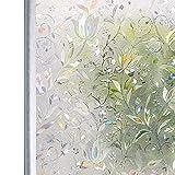 Homein 窓ガラス目隠しシート ステンドグラスシール uvカット 紫外線対策 水で貼る 剥がせる 貼り直し可 網入りガラス/ペアガラス/賃貸適用 ガラス飛散防止 結露防止 おしゃれ花柄 虹色 90x200cm