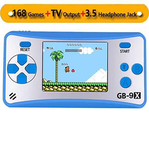 "ZHISHAN Retro Handheld Game Console Classic Video Gaming Player Portable Arcade System Birthday Gift for Kids Recreation 2.5"" Color LCD Built in 168 Games with TV Output 3.5mm Headphone Jack (Blue)"