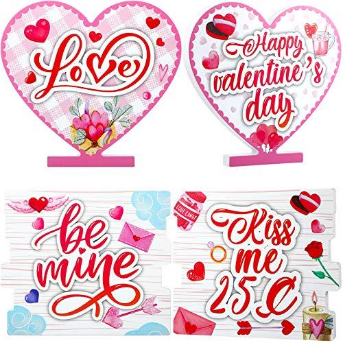2 Centrotavola da Tavolo San Valentine Blocchi Love Segno in Legno Decorazioni Happy Valentines Day, Doppia Stampa Segno Be Mine Heart Love per Festa Casa in Legno Decorazione Vassoio