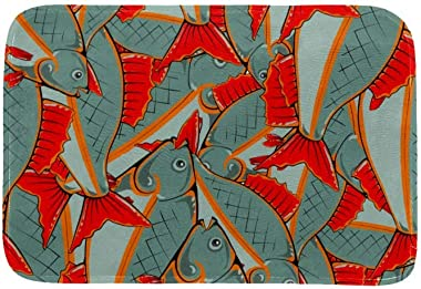 EGGDIOQ Doormats Fishes with Red Fins and Tails Custom Print Bathroom Mat Waterproof Fabric Kitchen Entrance Rug, 23.6 x 15.7