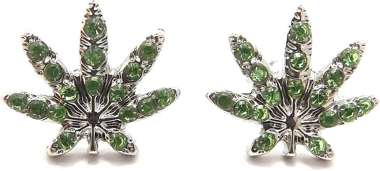 GWOOD Earrings Weed Leaf with Crystal Rhinestones