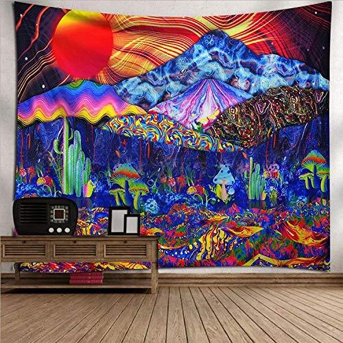Tapiz De Pared, Trippy Psicodélico Hippie Tapiz Pared Cuelgan Coloridas Setas Y Cactus, Rectangular De Tela Para Impresión De Art Decó Salón Dormitorio