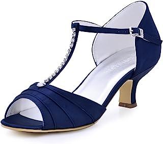 8d5422c309425 ElegantPark EL-035 Women Peep Toe T-Strap Pumps Mid Heel Rhinestones Satin  Evening