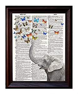 """Fresh Prints of CT Dictionary Art Print - Whimsical Elephant and Butterflies - Printed on Recycled Vintage Dictionary Paper - 8.5""""x11"""" - Mixed Media Poster on Vintage Dictionary Page"""