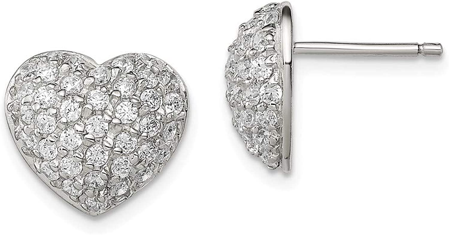 Beautiful Sterling silver 925 sterling Sterling Silver CZ Heart Post Earrings