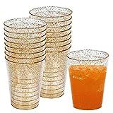 50 Einwegbecher 300 ml aus Plastik mit Gold Glitzer - Ideale Becher für Bier und andere...