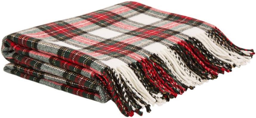 Glitzhome 100% Acrylic Dress Ranking TOP10 Stewart Plaid Tartan Sale item Throw Blanket