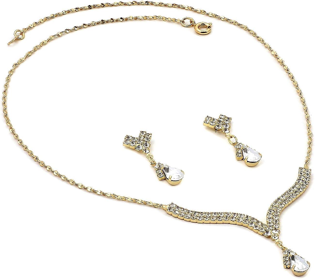 Topwholesalejewel Rhinestone Necklace with Jet Teardrop Center Matching Dangle Earrings Jewelry Set