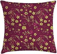 枕クッションカバー、抽象的な装飾的な春の花のパターンの芸術的なイラスト、装飾的な正方形のアクセントの枕ケース、18 X 18インチ、クラレットレッドとライトグリーンを投げる