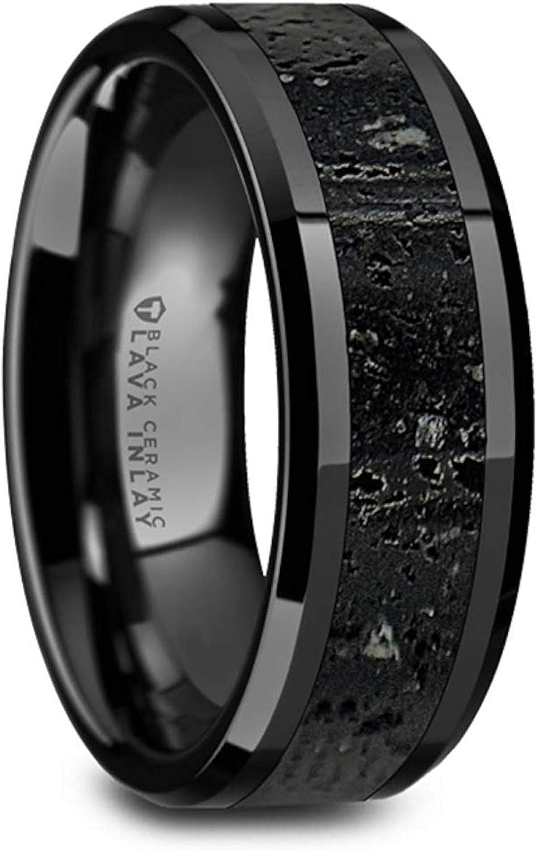 VESUVIUS Men's Polished Black Ceramic Wedding Band with Black & Gray Lava Rock Stone Inlay & Polished Beveled Edges - 8mm (12.5)