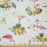 ABAKUHAUS Flamingo Stoff als Meterware, Frische Flora