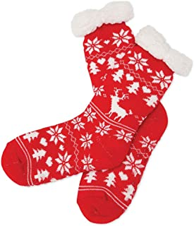 Red Nordic Slipper Socks - Warm Fuzzy Feet - Skid Resistant Soles with Fleece Lining