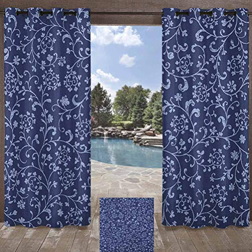 Floral Indoor/Outdoor for Pergola/Sunroom Victorian Baroque Style Classic Swirled Flowers with Damask Effects Pattern Indigo Violet Blue 108W x 108L Inch