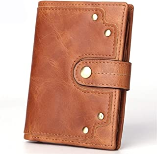 Bag for Men جلد طبيعي محافظ للرجال RFID منع طبقة البقر البقر جلد البقر برشام بارد محفظة Durable Bag (Color : Brown, Size : S)