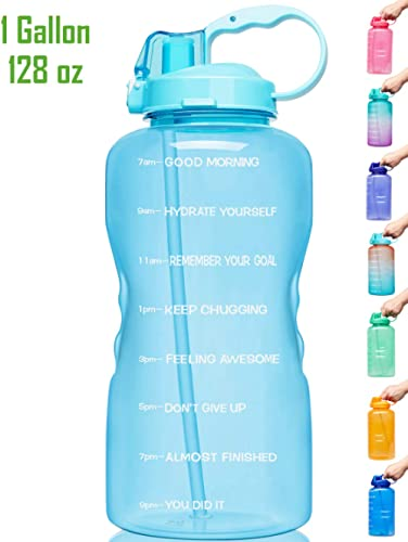 Venture Pal Large 1 Gallon/128 OZ (When Full) Motivational BPA Free Leakproof Water Bottle with Straw & Time Marker Perfect for Fitness Gym Camping Outdoor Sports product image