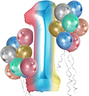 Simpeak 40 Inch Number Balloon, Aluminum Foil Rainbow 0-9 Party Balloons with 24Pcs Metallic Balloon 12 Inch for Wedding B...