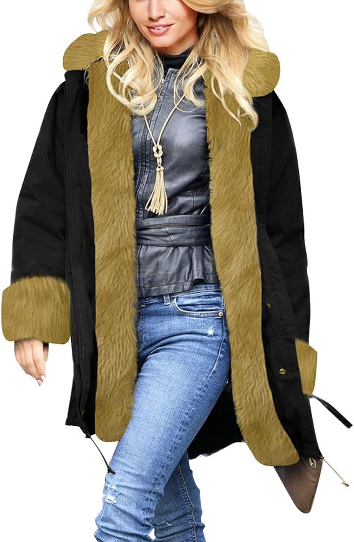 Womens Winter Warm Thicken Long Sleeve Faux Fur Collar Hooded Parka Jacket Coat