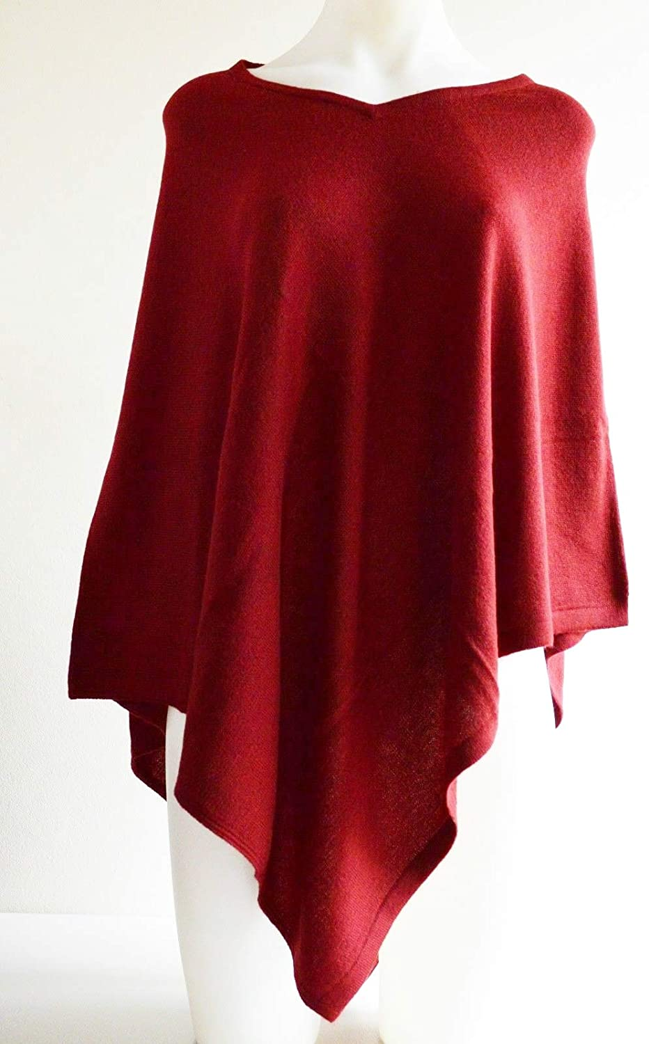 100% Cashmere Pashmina Maroon Poncho Wool Cape Wrap Soft Warm Women Long Sleeve Winter