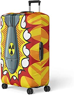 Pinbeam Luggage Cover Nuclear Atomic Bomb Pop Retro Raster Comic Book Travel Suitcase Cover Protector Baggage Case Fits 18-22 inches