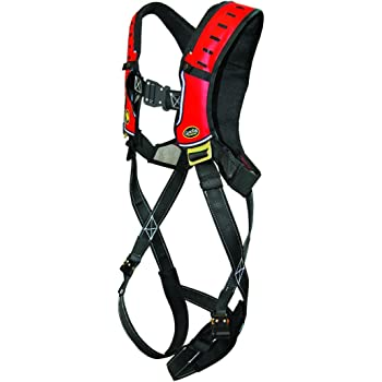 Black//Red XXL Guardian Fall Protection 181112 Basic HUV Premium Edge Series Harness with Pass-Thru Chest Buckles and Leg Tongue Buckles