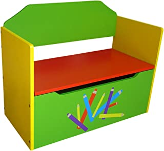 Rostrad Childrens Kids Wooden Toy Storage Box and Bench Crayon Pencil Themed