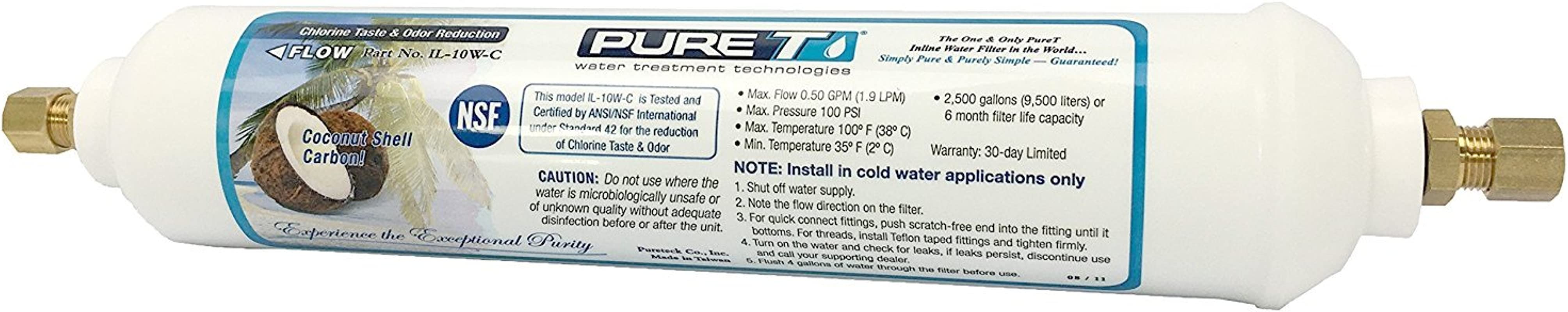 LASCO 37 1821 Ice Maker Inline Filter With 1 4 Inch Compression Connection 2 Inch X 10 Inch